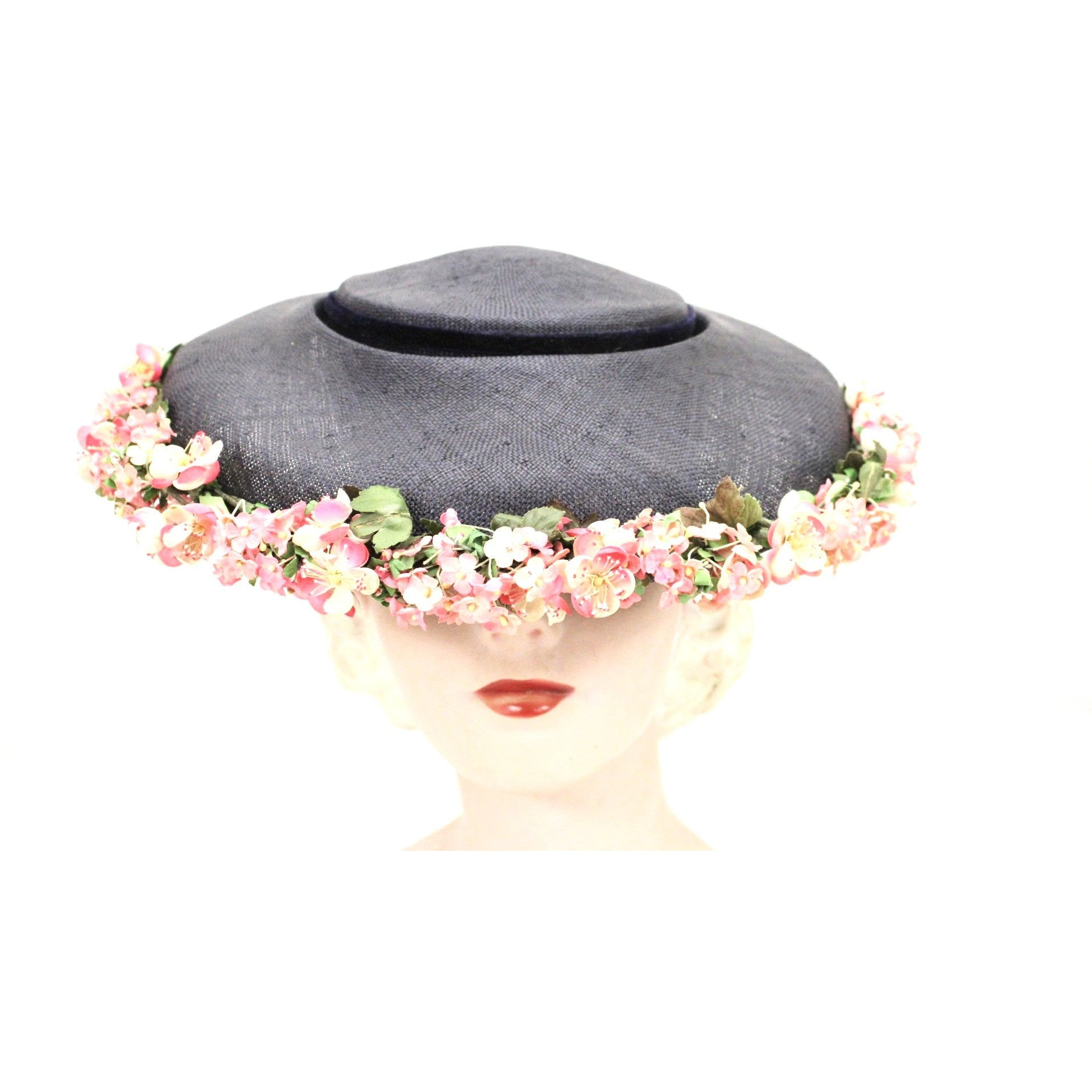 Vintage Navy Blue Straw Saucer Hat Wide Brim Flowers  1950s Church Womens Marvelous Maisel
