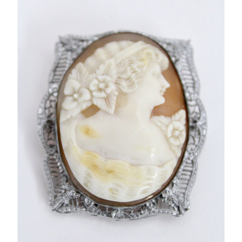 Antique Victorian Otsby Barton Shell Cameo OB Sterling Titanic Provenance Filigree