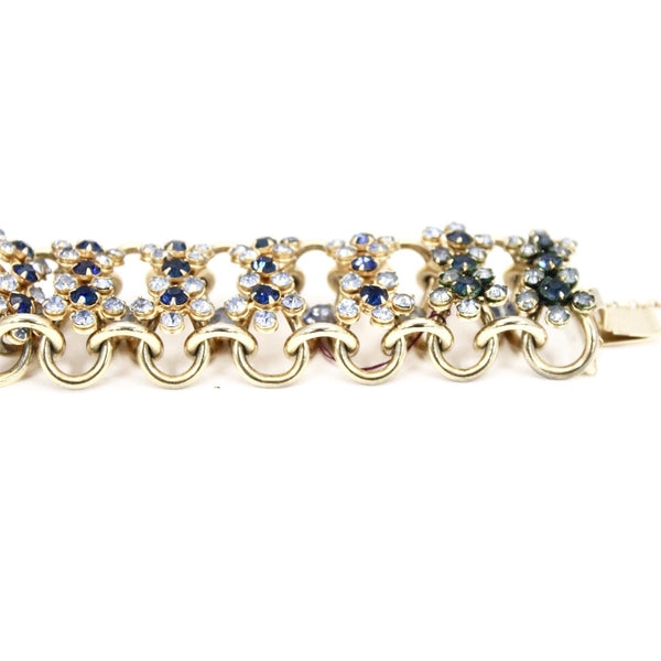 Vintage Bracelet 1950s Rolo Chain High Relief Blue Prong Set Rhinestones Gold Tone  7.25""