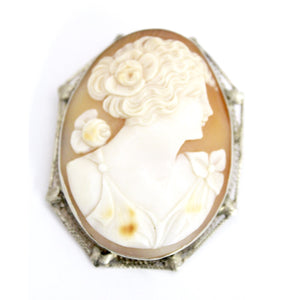 14k White Gold Filigree Carved Shell Victorian Cameo Brooch Rose Pin Pendant Folding Bale 1 7/8 13G