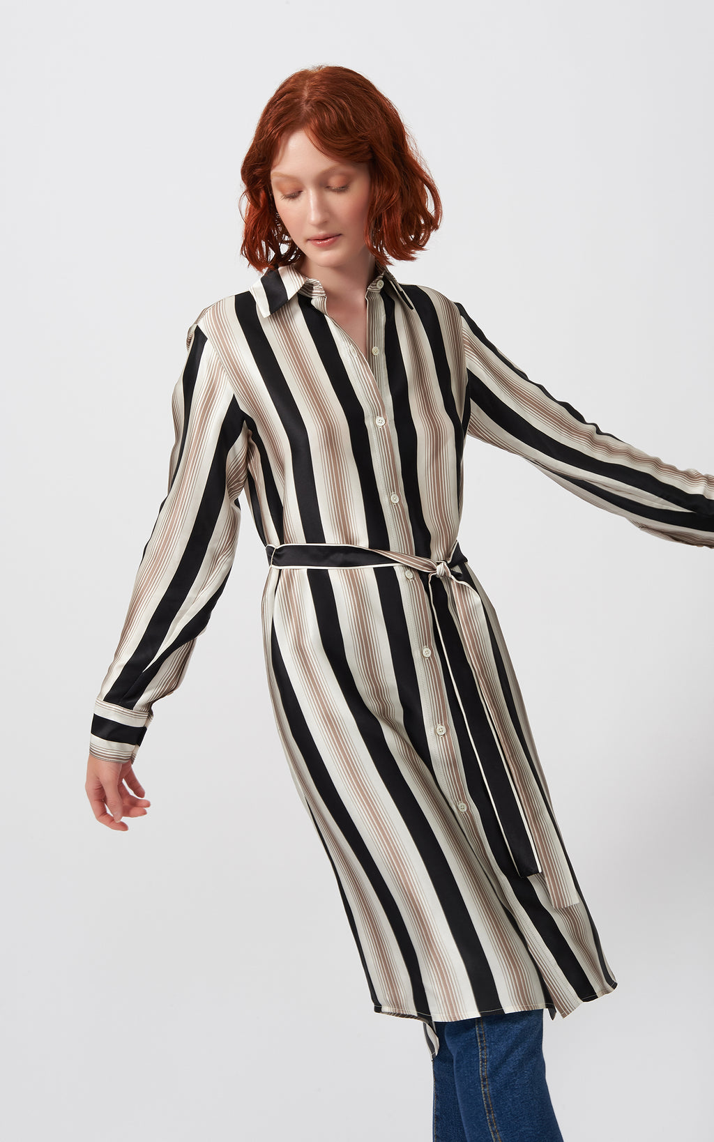 CHAMPAGNE STRIPE SHIRT DRESS