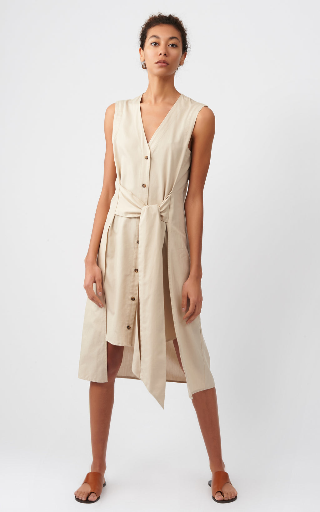 TIE WAIST DRESS - KHAKI