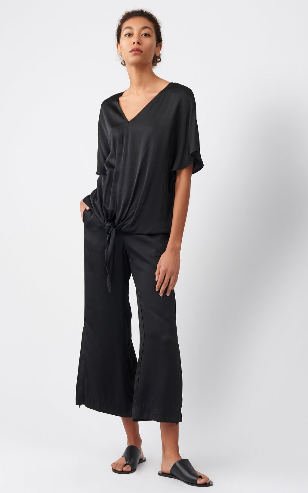 TIE FRONT TOP - BLACK SATIN