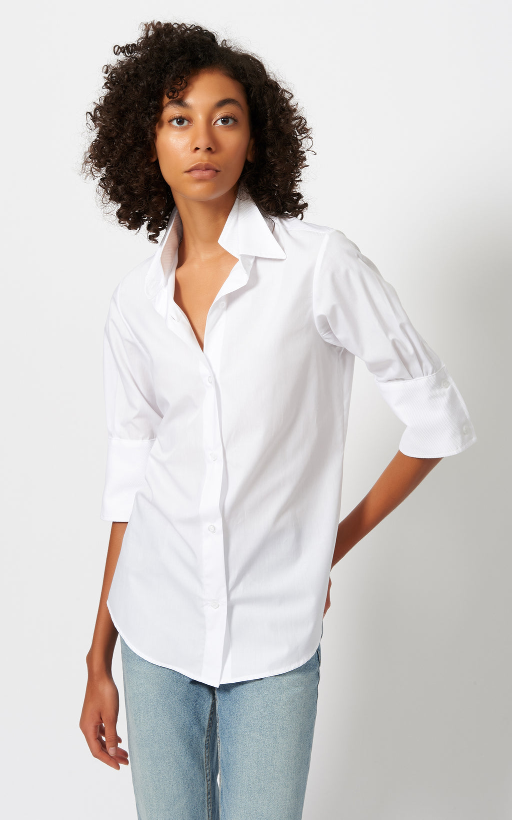 SHORT SLEEVE DOUBLE COLLAR SHIRT - WHITE WITH PIQUE