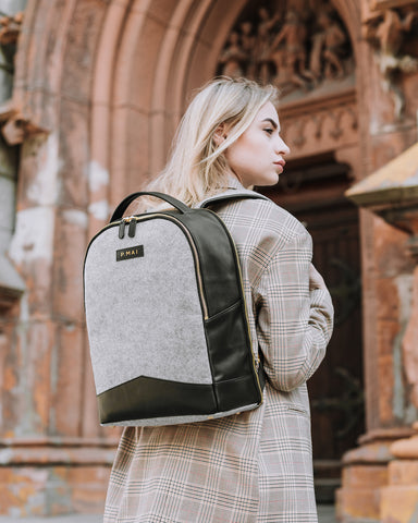 P.MAI best professional travel women's leather laptop backpack grey wool purse for work in black and grey