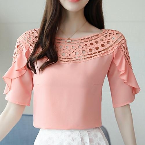 Womens Tops And Blouses Pink Blue White Women Summer Blouse Hollow Out Ruffles Short Sleeve Plus Size Shirt blusa blanca blusas