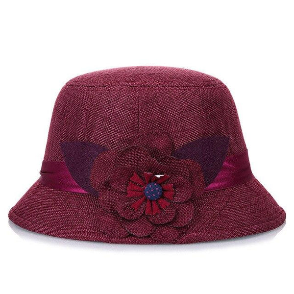 Women Floral Fedora Hats for Spring and Summer Mother Elegant Sunscreen Church Top Hat Breathable