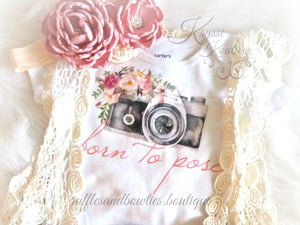 Born To Pose Vintage Camera Floral Baby Girl Shirt - Vintage Camera - Baby Modeling Shirt - Brand Rep Shirt - Dusty Rose Vintage Floral Baby Shirt - Fall Dusty Rose Baby Shirt - Ruffles & Bowties Bowtique - 1