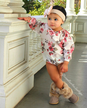 PRE ORDER - Adorable Long Sleeve Baby Girl Vintage Floral Romper