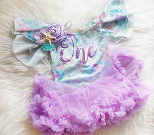 Baby Girls First Birthday Mermaid Leotard & Pettie Skirt