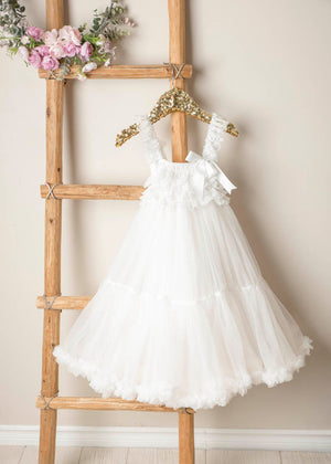 Kryssi Kouture Exclusive Girls White Ivory Spencer Tulle Twirl Dress