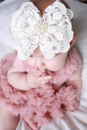 Vintage Lace Ruffle Bow with Accented Pearls Headband