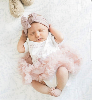 "Newborn ""Worth The Wait"" Dusty Pink Tutu Dress - Exclusive By Kryssi Kouture"