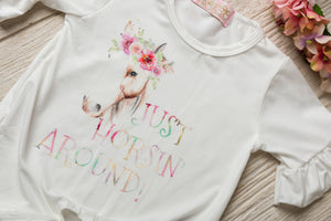 Kryssi Kouture Original Just Horsin Around Rainbow Knotted Shirt Kids Horse Shirt