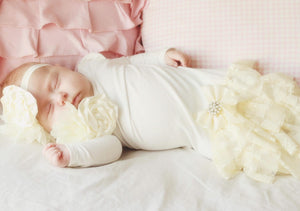 Alice Cream and White Lace Ruffle Sleep Sack Gown