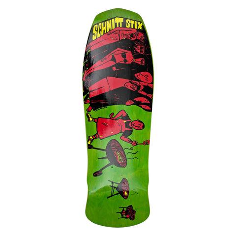 "Schmitt Stix Joe Lopes BBQ Modern Concave Deck- 10.125""x31""- Lime/Red"