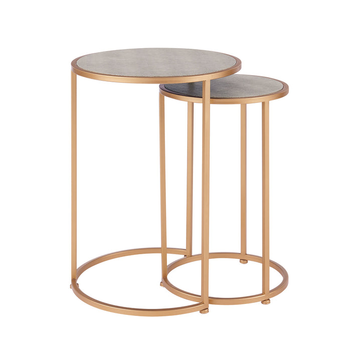 Anza Set of 2 Round Faux Shagreen Nesting End Table by New Pacific Direct - 1600038