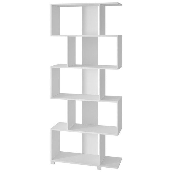 Accentuations by Manhattan Comfort Charming Petrolina Z- Shelf with 5 shelves in White Manhattan Comfort-Bookcases - - 1