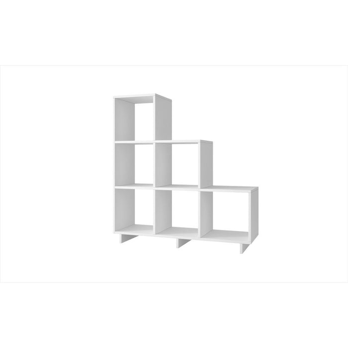 Accentuations by Manhattan Comfort Sophisticated Cascavel Stair Cubby with 6 Cube Shelves in White Manhattan Comfort-Bookcases - - 1