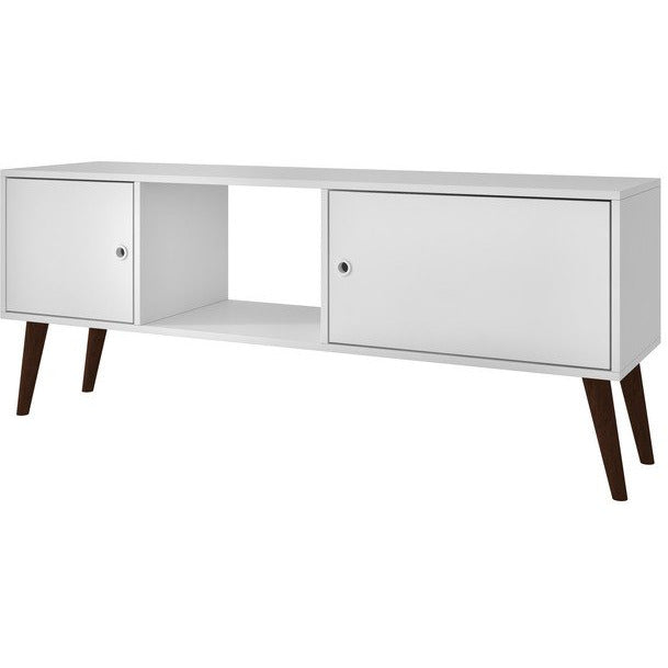 Accentuations by Manhattan Comfort Varberg Splayed Leg TV Stand in WhiteManhattan Comfort-Entertainment Center- - 1