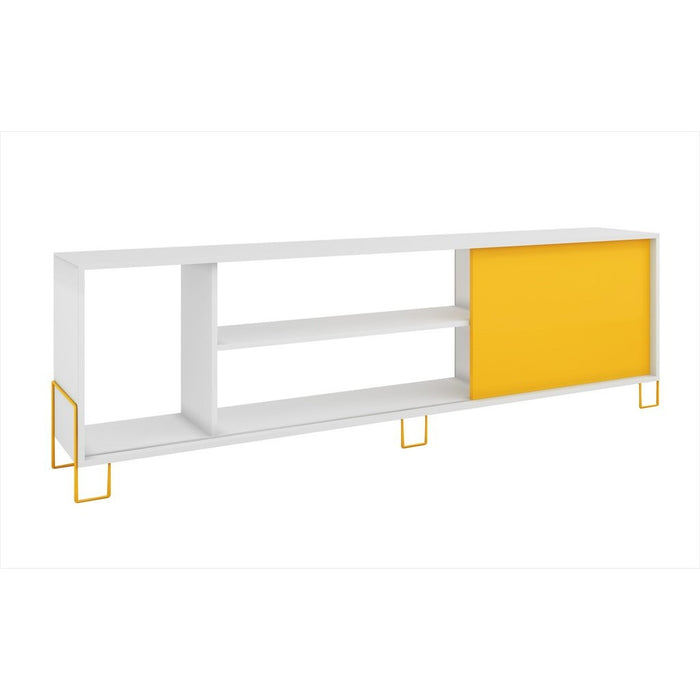 Accentuations by Manhattan Comfort Eye- catching Nacka TV Stand 1.0 with 4 Shelves and 1 Sliding Door in a White Frame and Yellow Door and Feet Manhattan Comfort-Stands and Side Tables- - 1