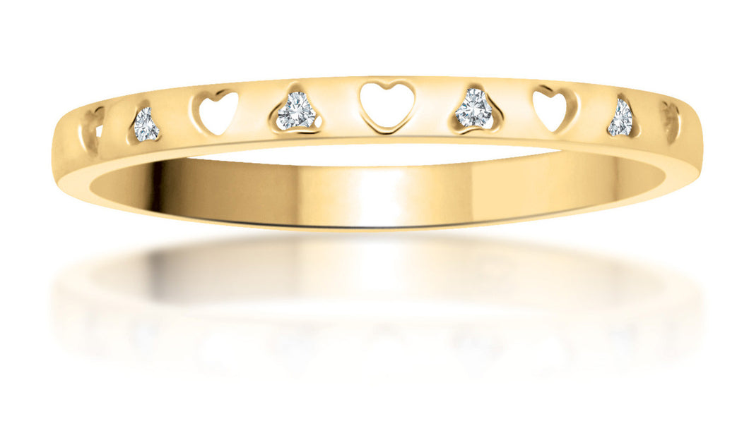 10Kt Yellow Gold Diamond Band with Heart Design