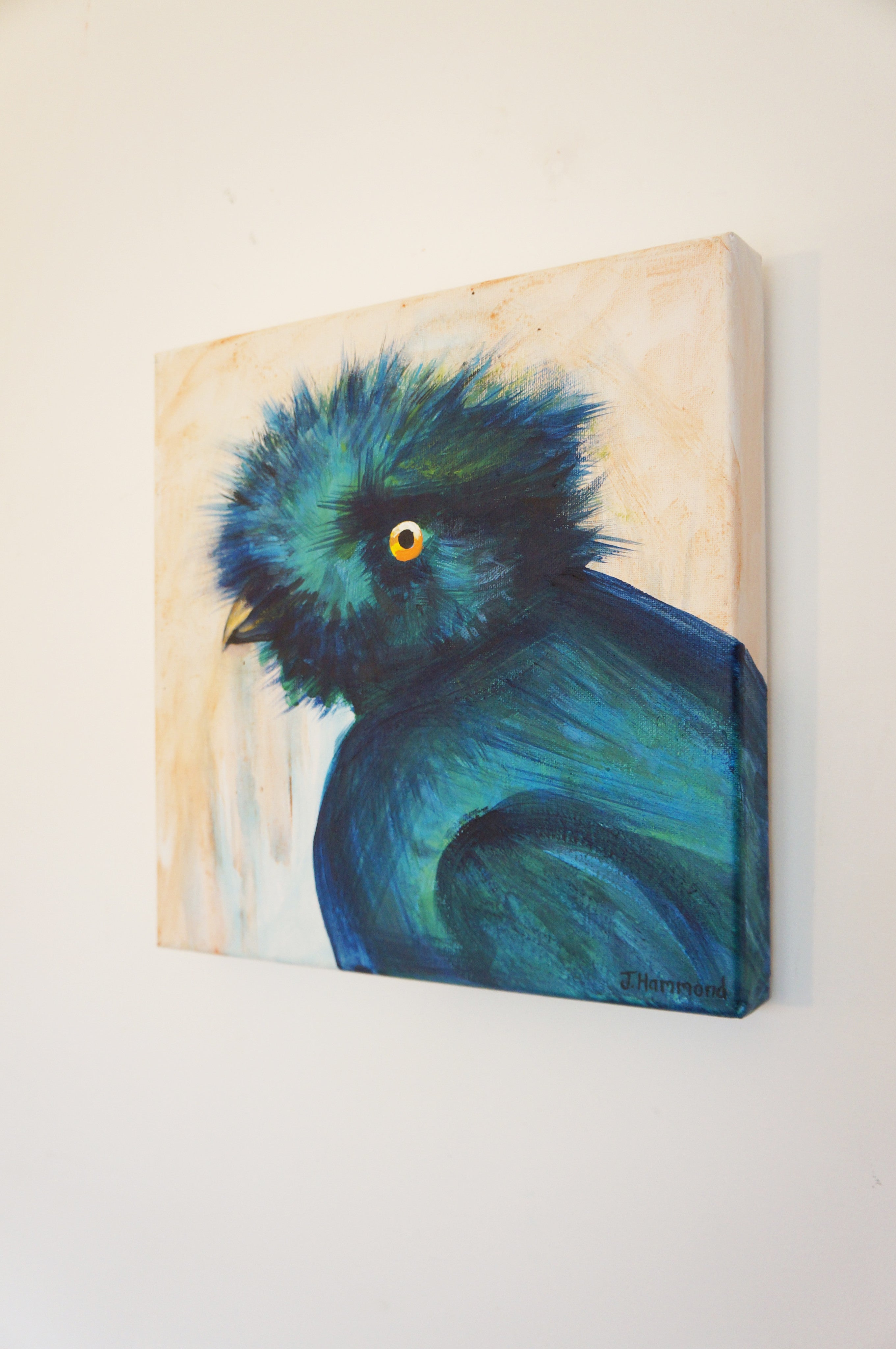 Bad Hair Day - Bird Portrait Painting  Smart Deco Homeware Lighting and Art by Jacqueline hammond