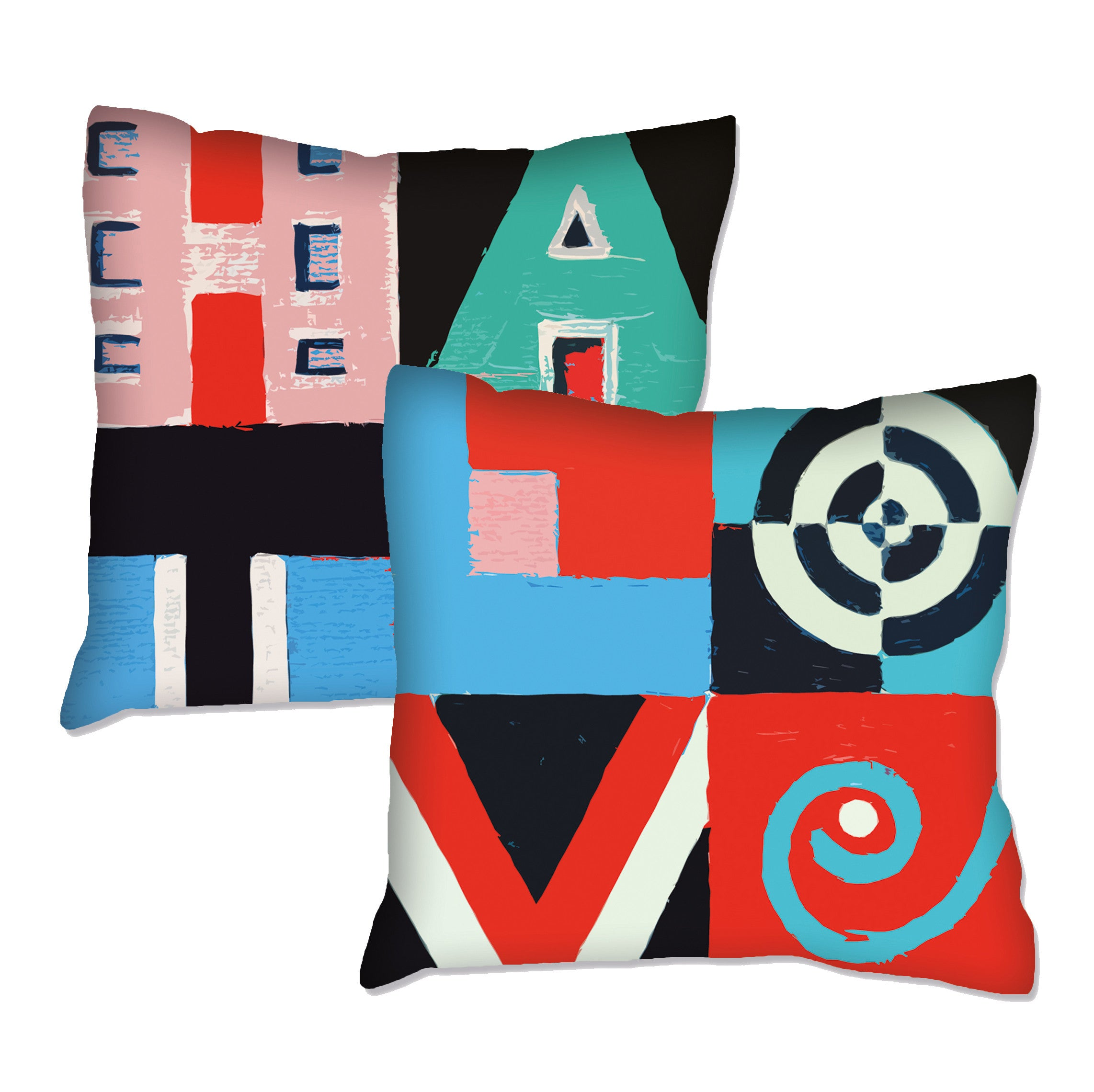 The Love / Hate Double Sided Word Art Cushion  Smart Deco Homeware Lighting and Art by Jacqueline hammond