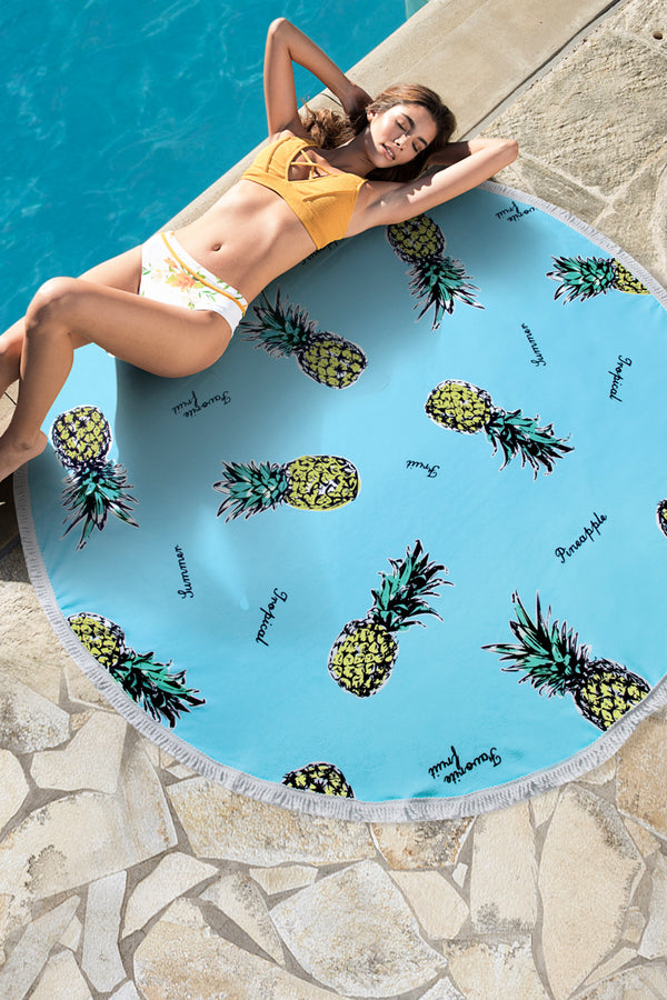 Holiday Pineapple Printed Round Beach Towel