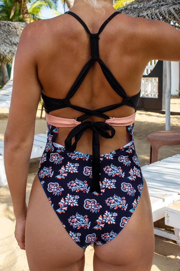 Pink and Navy Print Ultra High Leg One-Piece Swimsuit