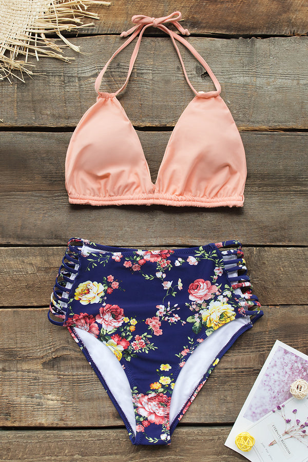 Pink and Floral Halter High-Waisted Bikini