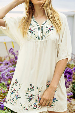 Creamy White Floral Embroidery Front Button Dress