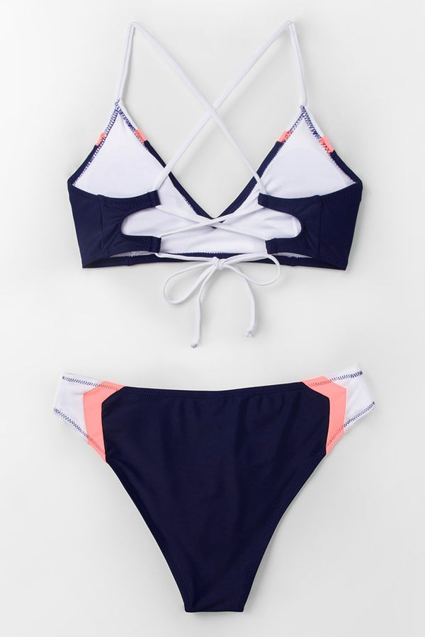 Navy Sport Lace-Up Bikini