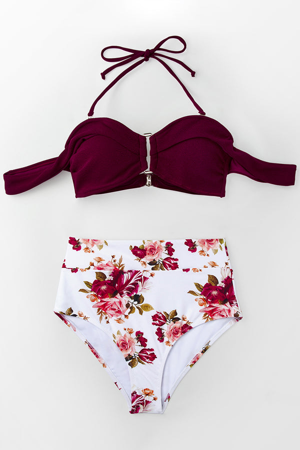 Romantic Red And Floral High-waisted Bikini