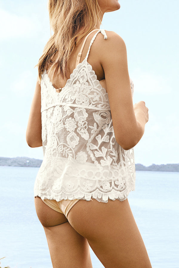 Embroidery White Camisole Cover Up