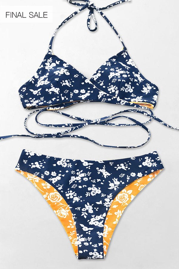 Blue And Yellow Floral Reversible Bikini