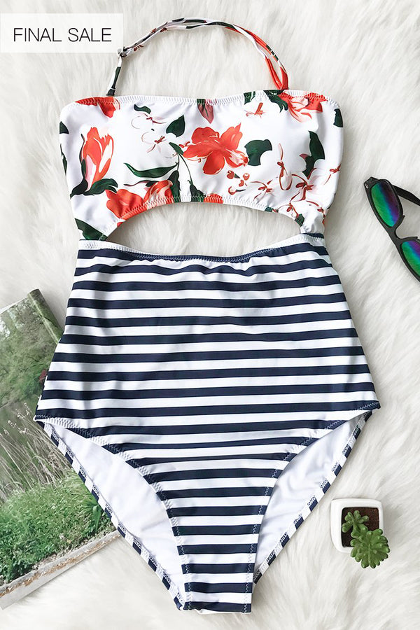 Open Lilies Print One-piece Swimsuit