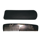 Cyril R. Salter Genuine Horn Double Tooth Comb with Leather Pouch 13cm
