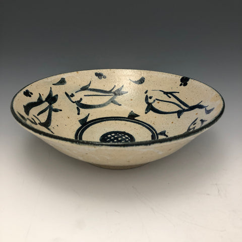 Stoneware Bowl with Cobalt Fish Motif BW94