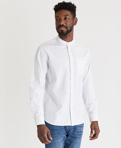 Collarless Crosshatch Shirt
