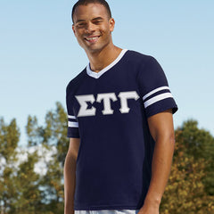 Sigma Tau Gamma Striped Tee with Twill Letters - Augusta 360 - TWILL