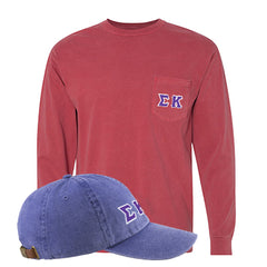 Sorority Comfort Colors Printed Pocket Long-Sleeve and Hat Package - Comfort Colors 4410,AD969 - DIG