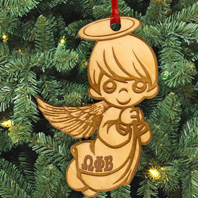 Omega Phi Beta Angel Ornament - LZR