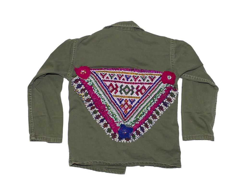 Army Jacket with Beadwork