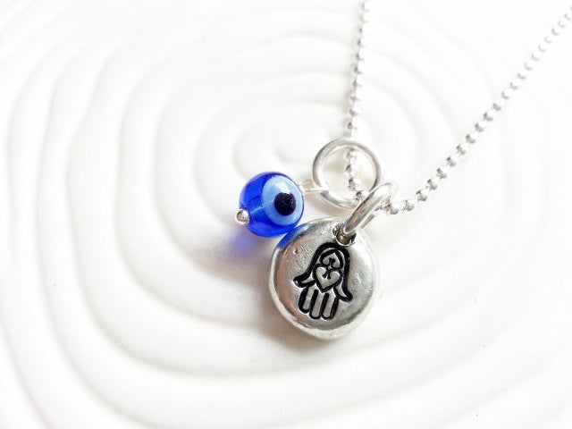 Hamsa - Evil Eye Necklace - Glass Evil Eye Hand Stamped Personalized Necklace - Hand Of Fatima - Chamsa