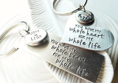 You Have My Whole Heart For My Whole Life Keychain Set - Single or Pair of Keychains - Hand Stamped, Personalized Keychain - Gift for Couple