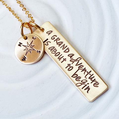 A Grand Adventure is About to Begin | Gold Tone | Inspirational Jewelry