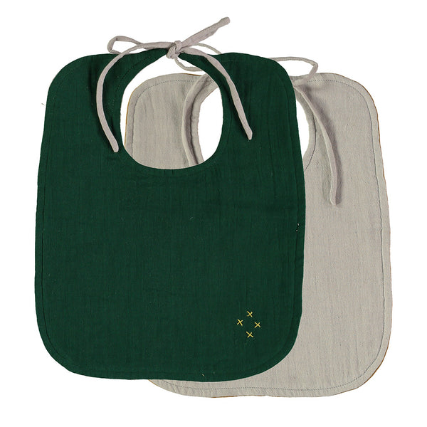 Forest green and mint reversible cotton muslin dribble bib