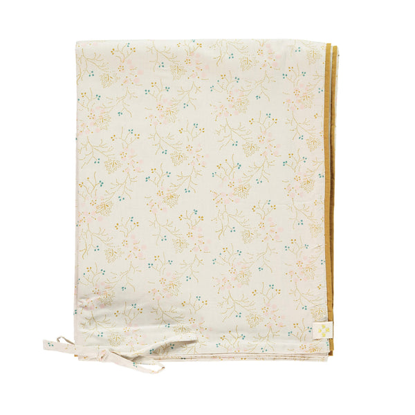 Minako golden floral duvet cover on soft stone base by camomile london