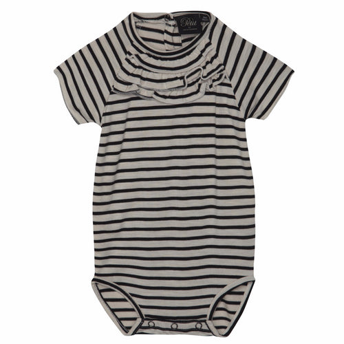Petit by Sofie Schnoor - Body w. frills - Striped/off white (P162401)